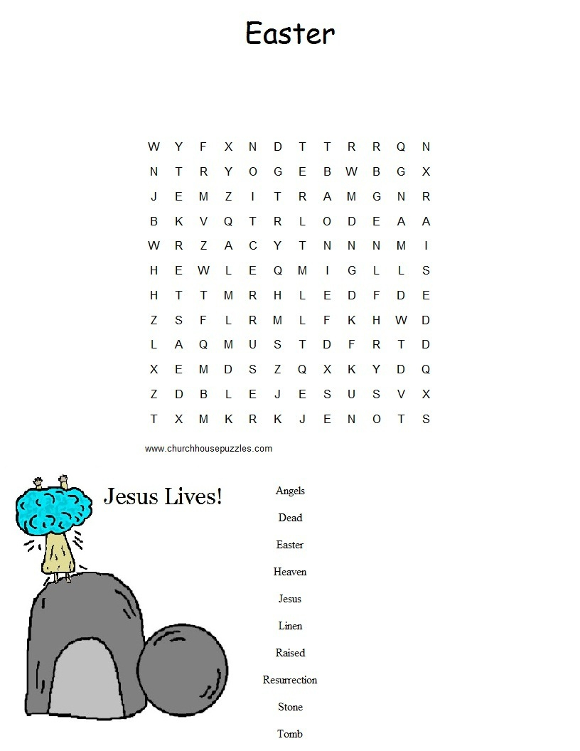 Easter Sunday School Lesson - Free Printable Religious Easter Word Searches