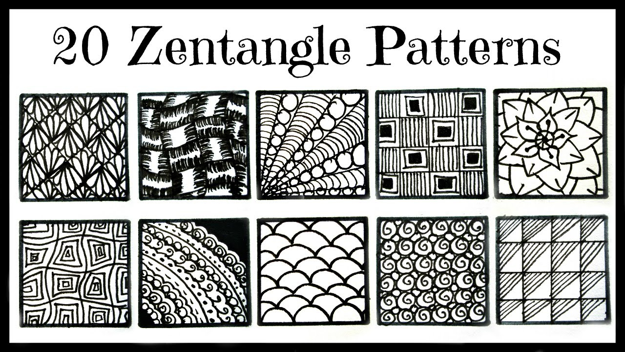 Easy- 20 Zentangle Patterns For Beginners - Youtube - Free Printable Zentangle Templates
