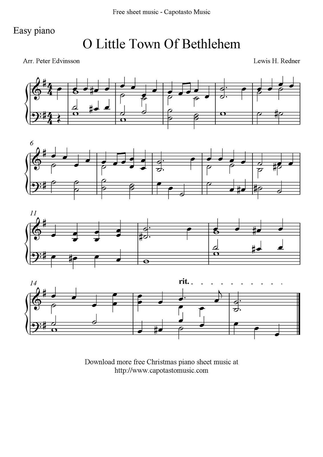 Easy Piano Solo Arrangementpeter Edvinsson Of The Christmas - Christmas Carols Sheet Music Free Printable