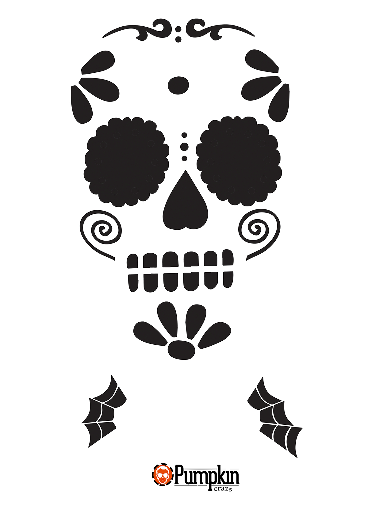 Easy Sugar Skull 7 | Seasonal | Sugar Skull Pumpkin Stencil, Sugar - Free Printable Pumpkin Carving Stencils For Kids
