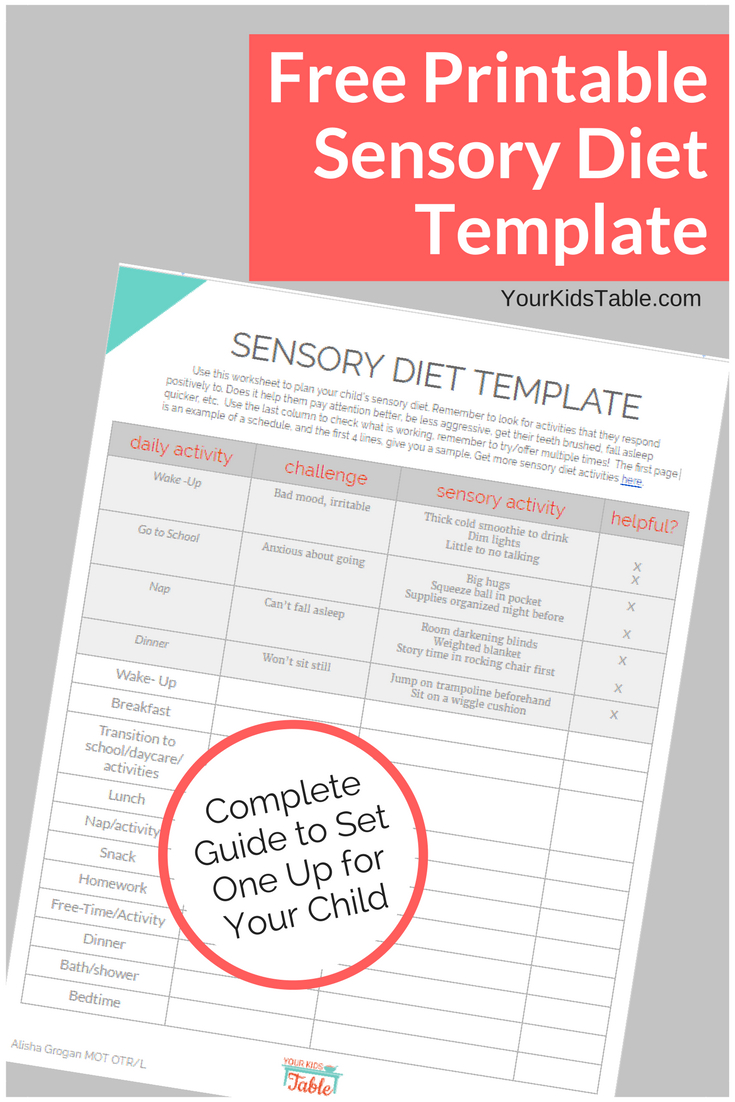 Easy To Use Sensory Diet Template With A Free Pdf | Ot | Pinterest - Free Printable Sensory Stories