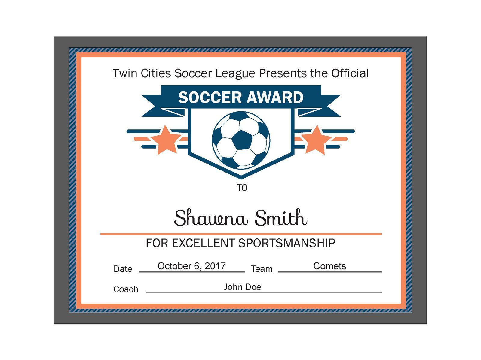 Editable Pdf Sports Team Soccer Certificate Award Template In 3 - Free Printable Soccer Certificate Templates