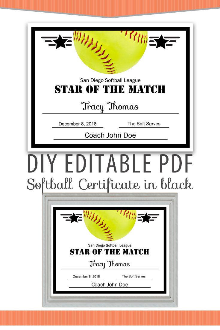 Editable Pdf Sports Team Softball Certificate Diy Award Template In - Free Printable Softball Certificates
