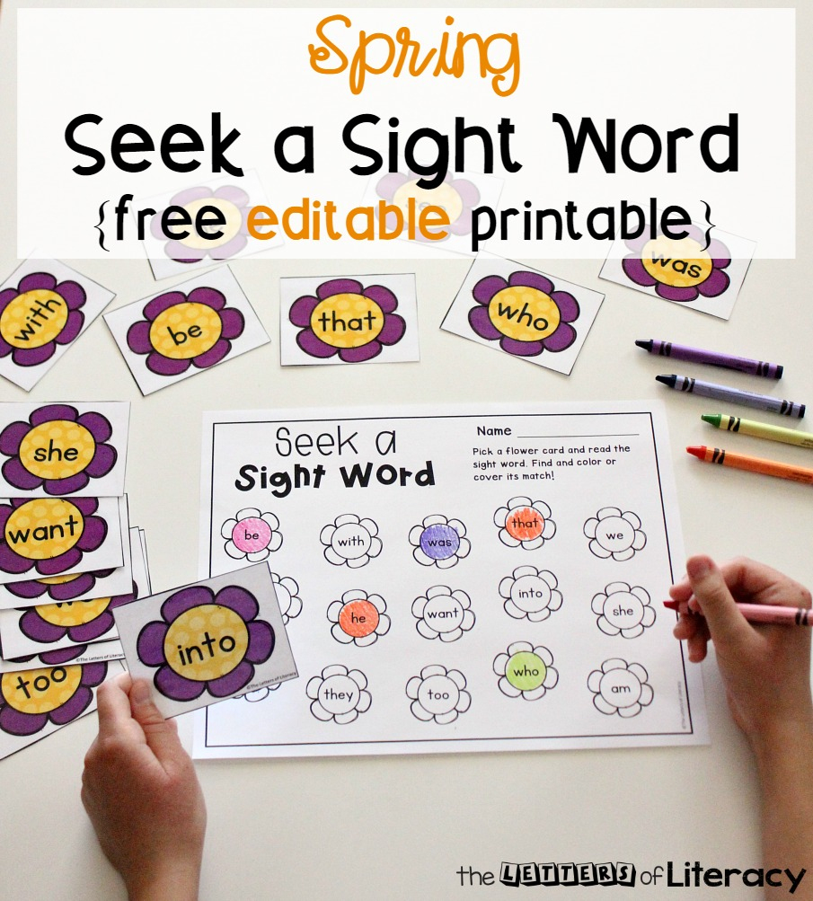 Editable Spring Sight Word Game - The Letters Of Literacy - Free Printable Flower Letters