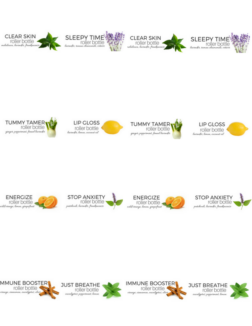 Eight Essential Oil Roller Bottle Recipes With Free Printables - Free Printable Roller Bottle Labels