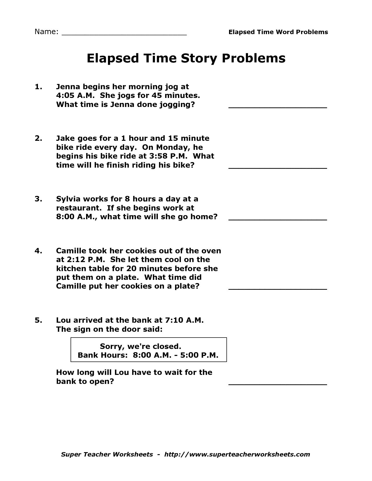 Elapsed Time Worksheets 3Rd Grade To Learning - Math Worksheet For Kids - Elapsed Time Worksheets Free Printable