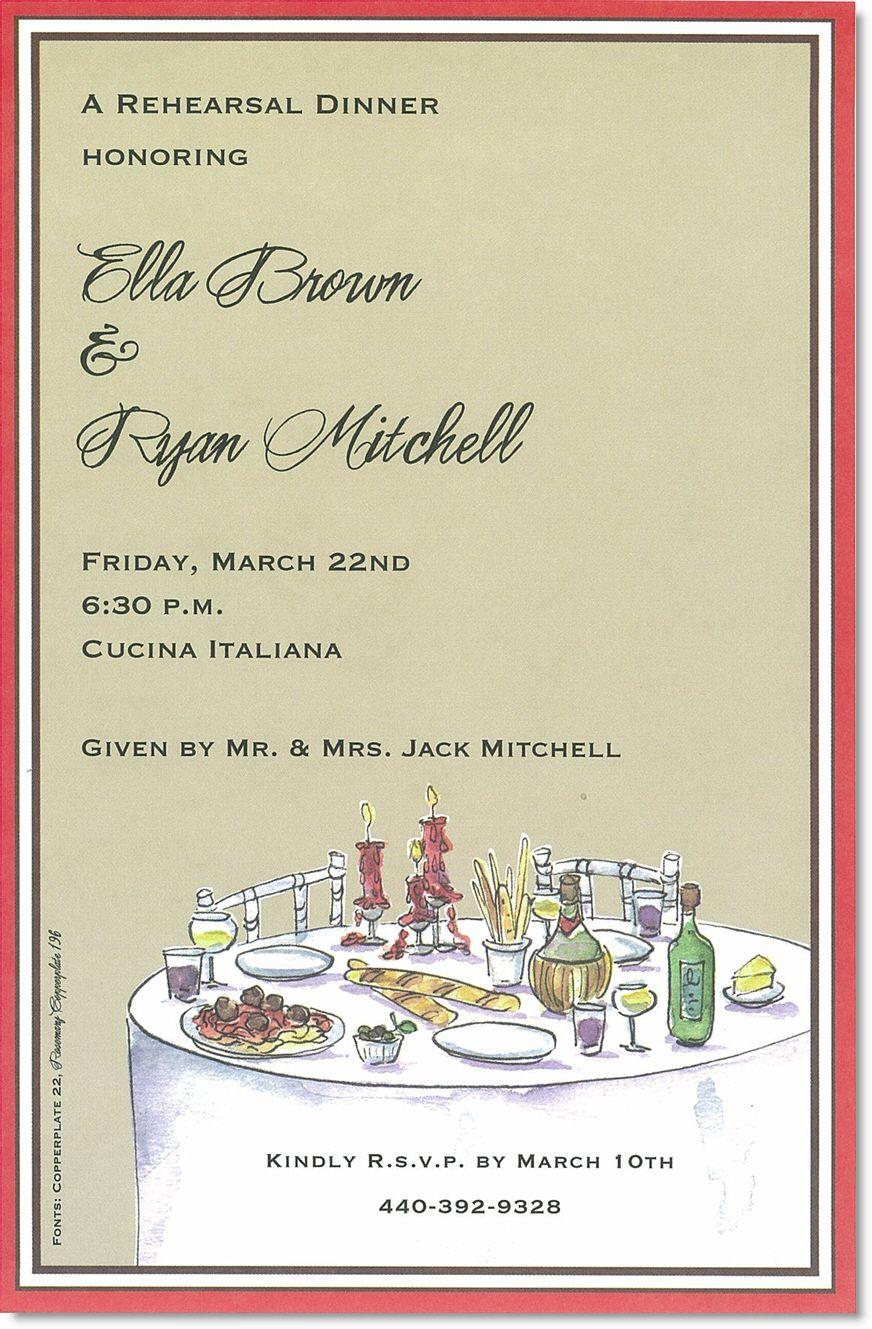 Elegant Italian Party Invitations   Rehearsal Dinner   Rehearsal - Free Printable Italian Dinner Invitations