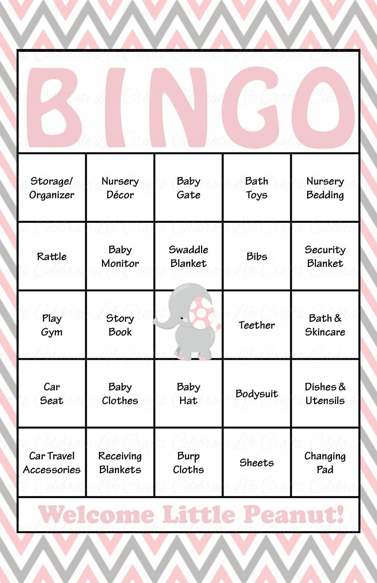 Elephant Baby Bingo Cards - Printable Download - Prefilled - Baby - 50 Free Printable Baby Bingo Cards