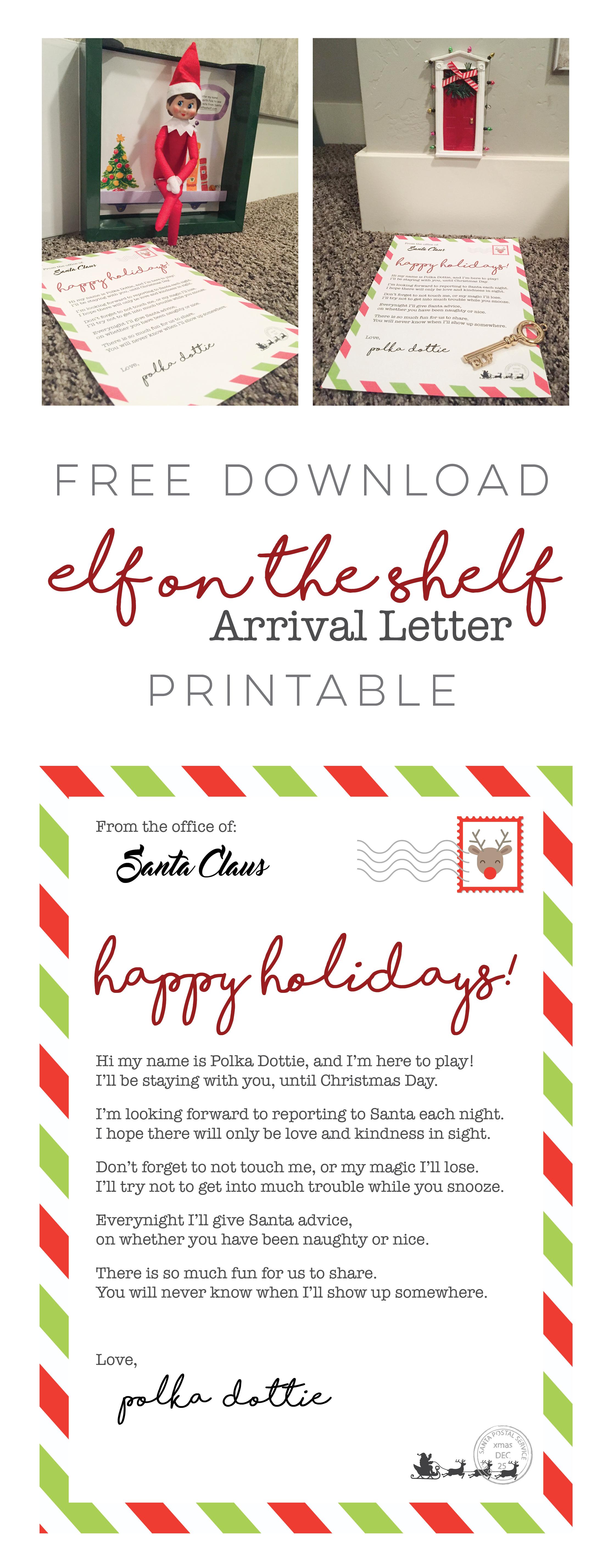 Elf On The Shelf - Arrival Letter Free Download • Ali Brugman Blog - Free Printable Elf On Shelf Arrival Letter
