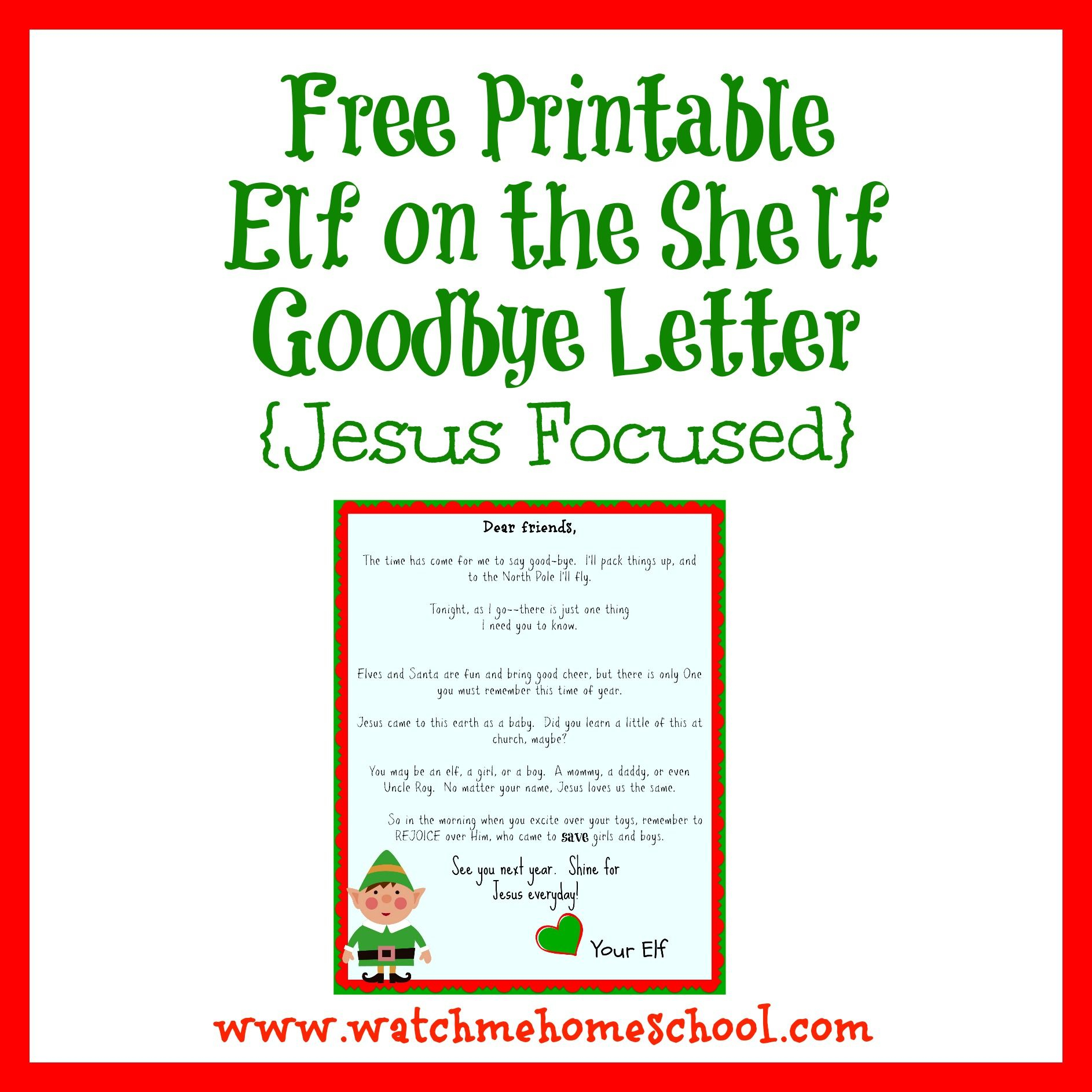 Elf On The Shelf Farewell Letter Printable | Elf On The Shelf - Elf On The Shelf Goodbye Letter Free Printable