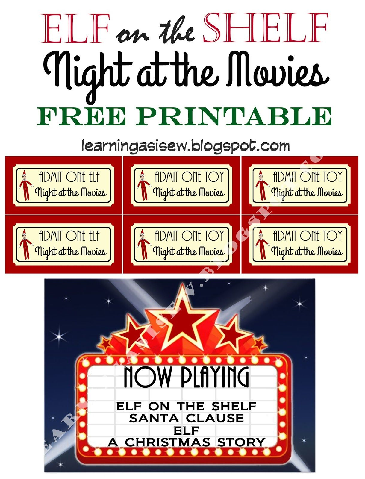 Elf On The Shelf Free Printable - Night At The Movies, Printable - Free Printable Movie Tickets