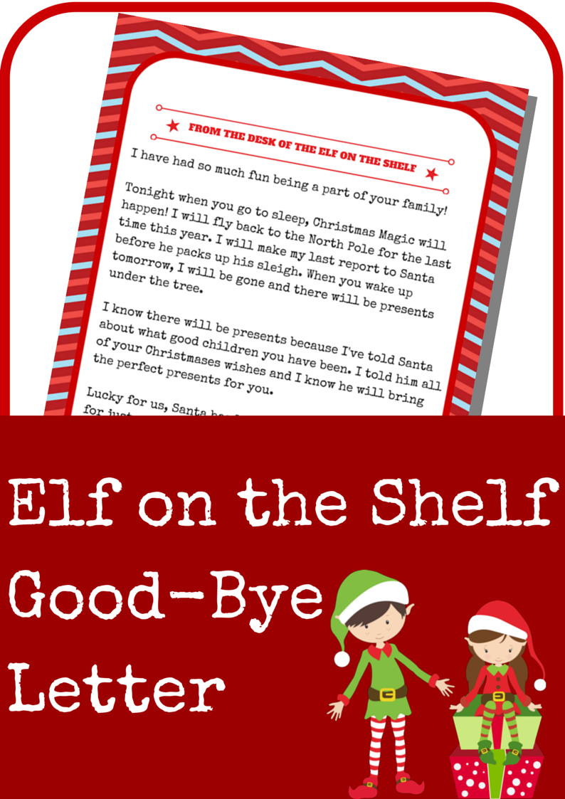 Elf On The Shelf Good-Bye Letter - A Grande Life - Elf On The Shelf Goodbye Letter Free Printable