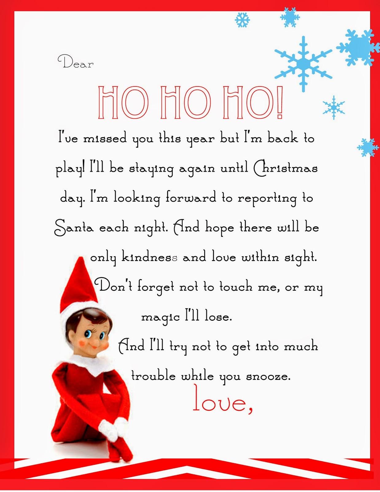 Elf On The Shelf Letter {Free Printable} - Free Printable Elf On The Shelf Letter