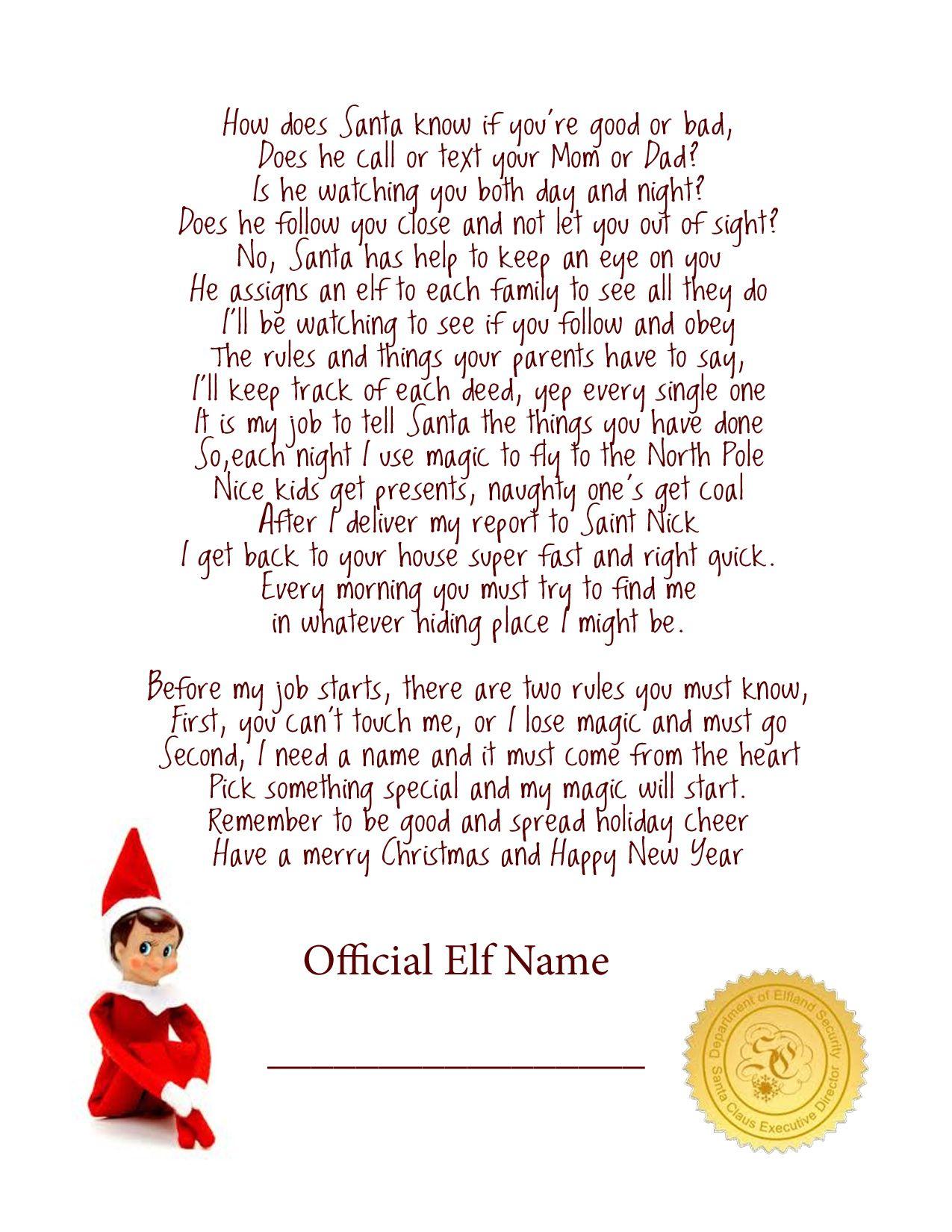 Elf On The Shelf Story - Free Printable Poem | Elf On The Shelf - Free Printable Elf On Shelf Arrival Letter