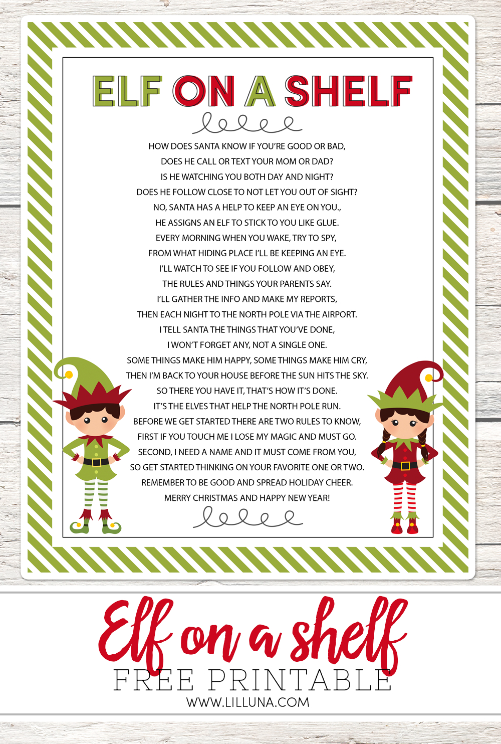 Elf On The Shelf Story - Free Printable Poem - Lil' Luna - Free Printable Elf On The Shelf Story