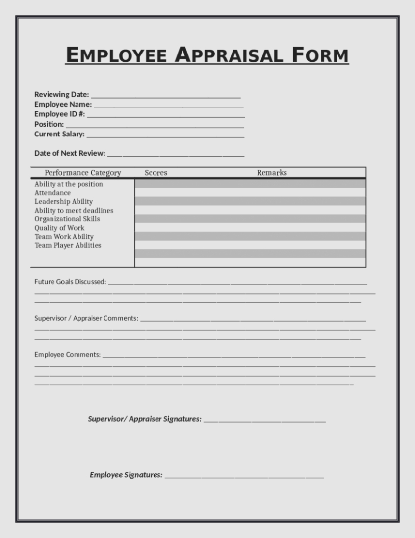 Eliminate Your Fears And | The Invoice And Form Template - Free Employee Evaluation Forms Printable