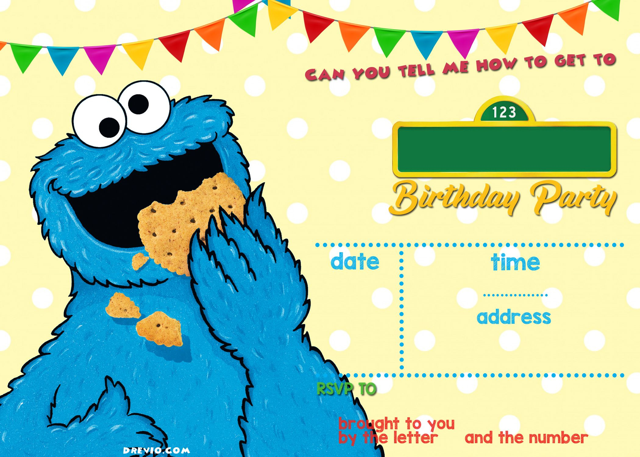 Elmo Sesame Street Birthday Party Invitations | Elijah | Pinterest - Free Printable Cookie Monster Birthday Invitations