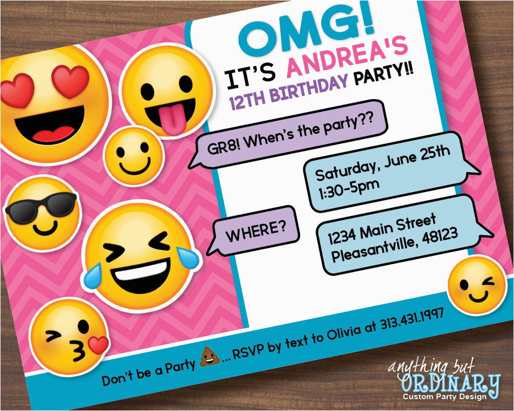 Emoji Birthday Card Template Emoji Invitations Printable Free - Emoji Invitations Printable Free