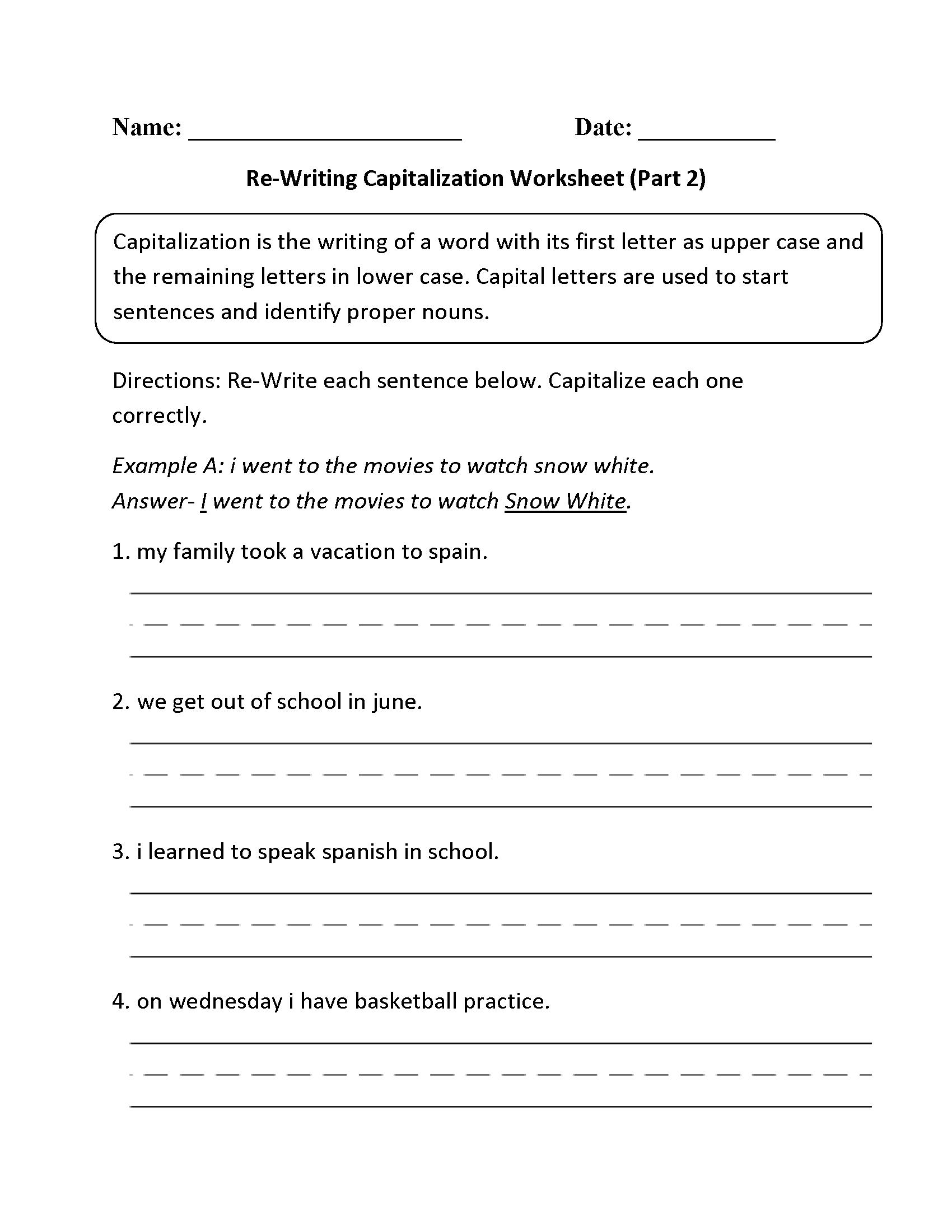 Englishlinx | Capitalization Worksheets - Free Printable Worksheets For Punctuation And Capitalization