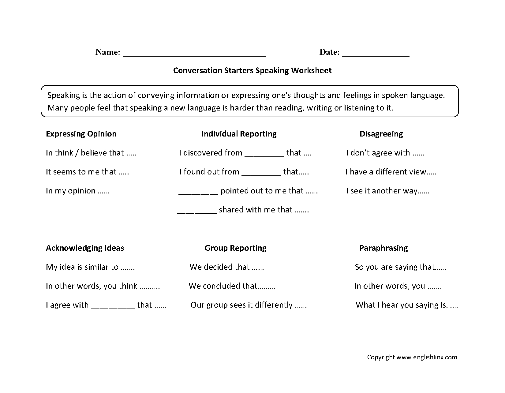 Englishlinx | Speaking Worksheets - Free Printable English Conversation Worksheets