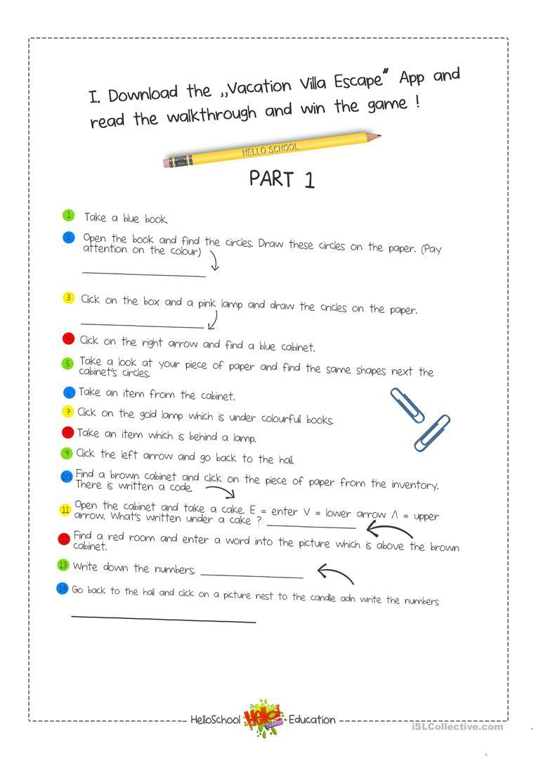 Escape Room Game Worksheet - Free Esl Printable Worksheets Made - Free Printable Escape Room Game