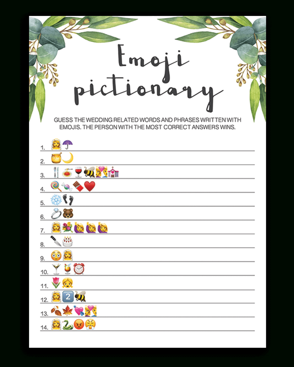 Eucalyptus Bridal Shower Emoji Pictionary Printable - Wedding Emoji Pictionary Free Printable