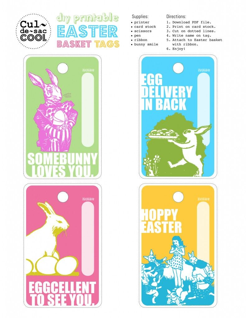 Every Cool Easter Basket Needs A Cool Tag. I've Got Just The Thing - Free Easter Name Tags Printable