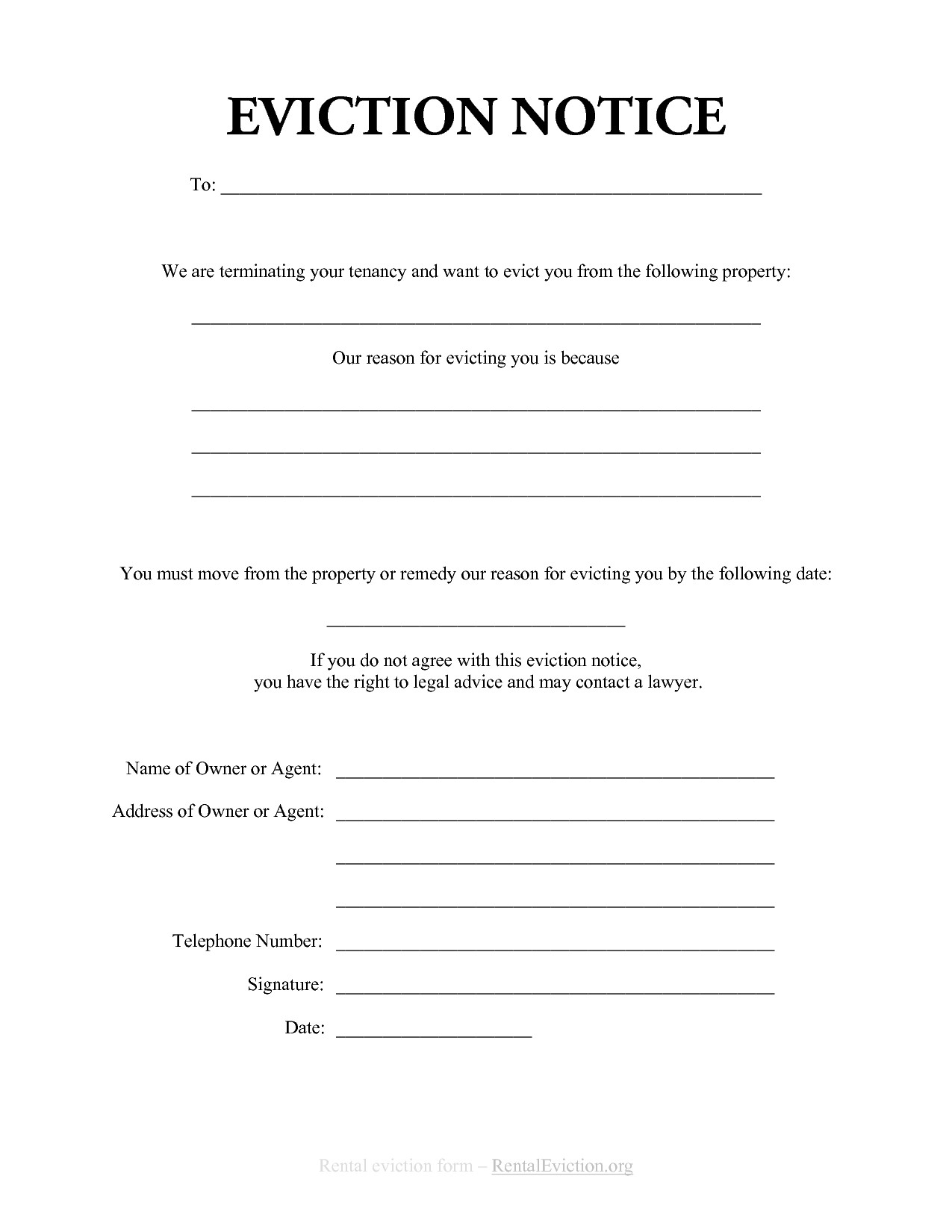 Eviction Notice Template | Charlotte Clergy Coalition - Free Printable Blank Eviction Notice