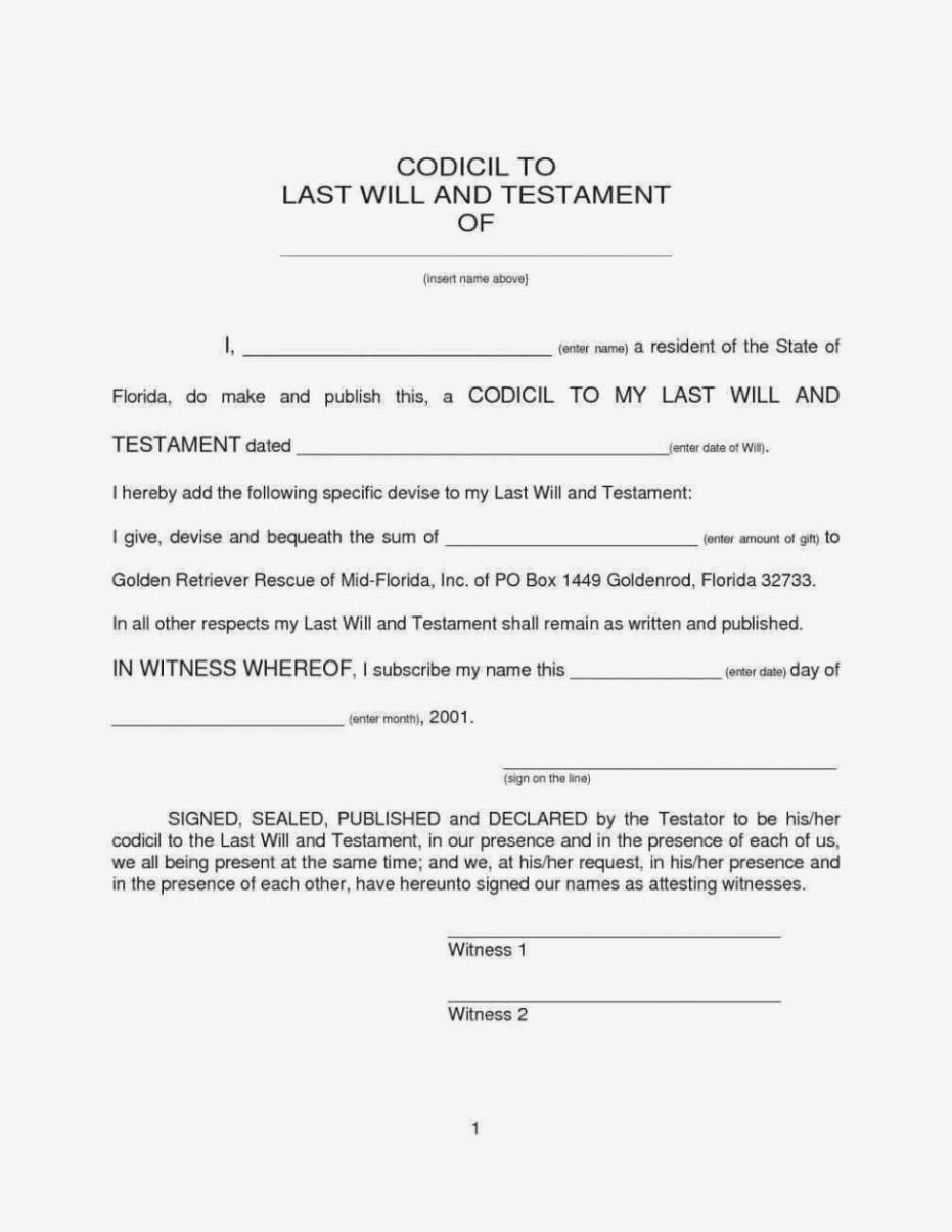 Example Codicil Form Uk Inspirational Free Printable Sample Legal - Free Printable Codicil Form