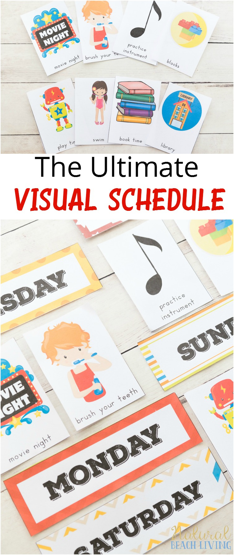Extra Daily Visual Schedule Cards Free Printables - Natural Beach Living - Free Printable Schedule Cards For Preschool