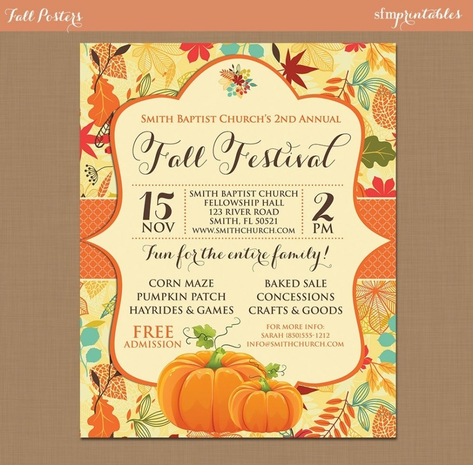 Fall Festival Flyer Templates Free | Penaime - Free Printable Fall Festival Flyer Templates