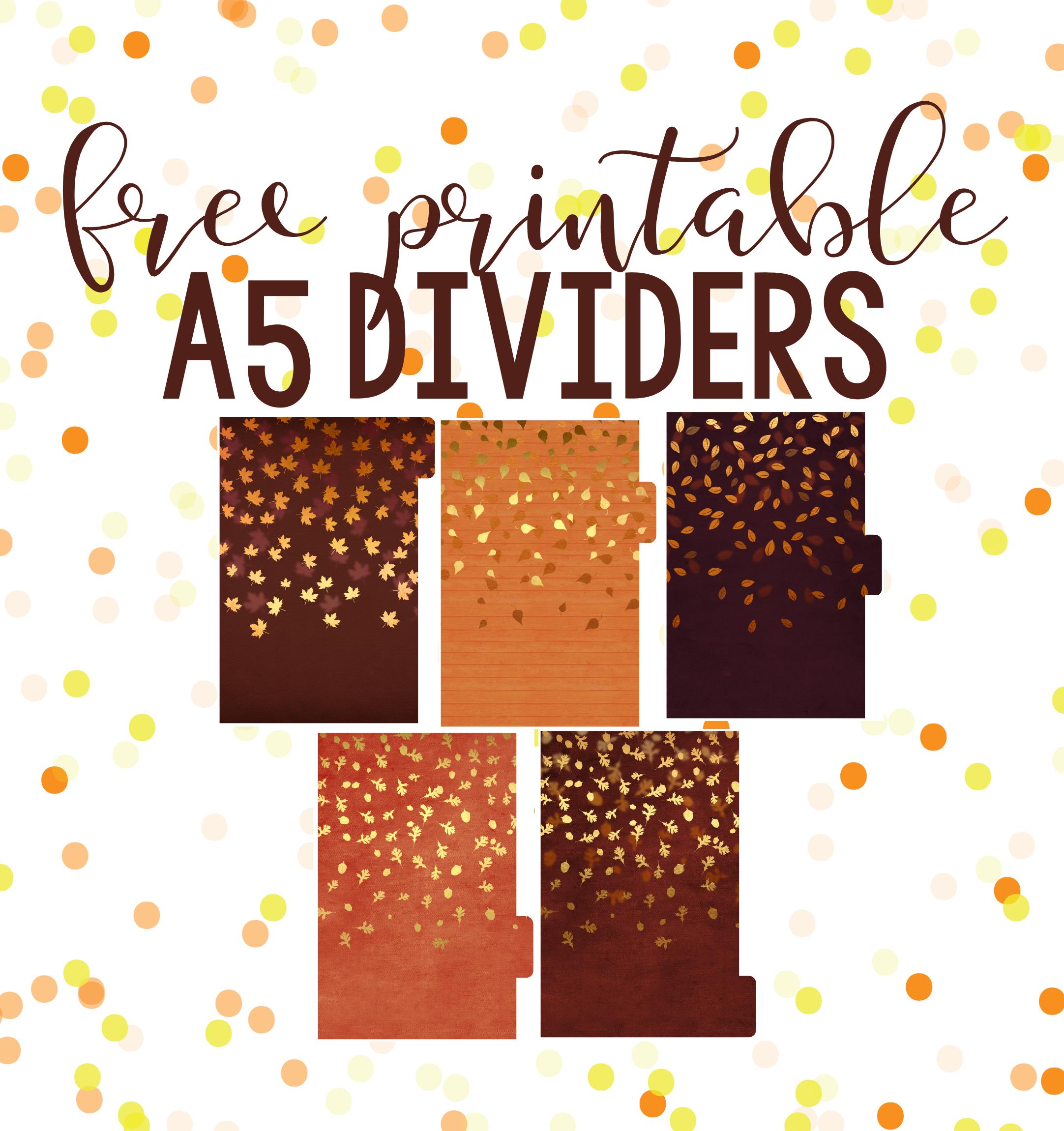 Fall Freebies! Free Printable Dividers & Dashboards! - Planning Inspired - Free Printable Dividers