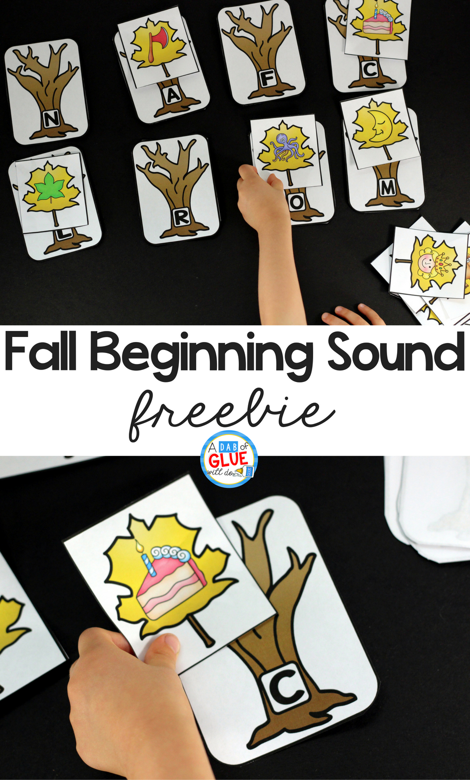 Fall Initial Sound Match-Up Free Printable - A Dab Of Glue Will Do - Literacy Posters Free Printable