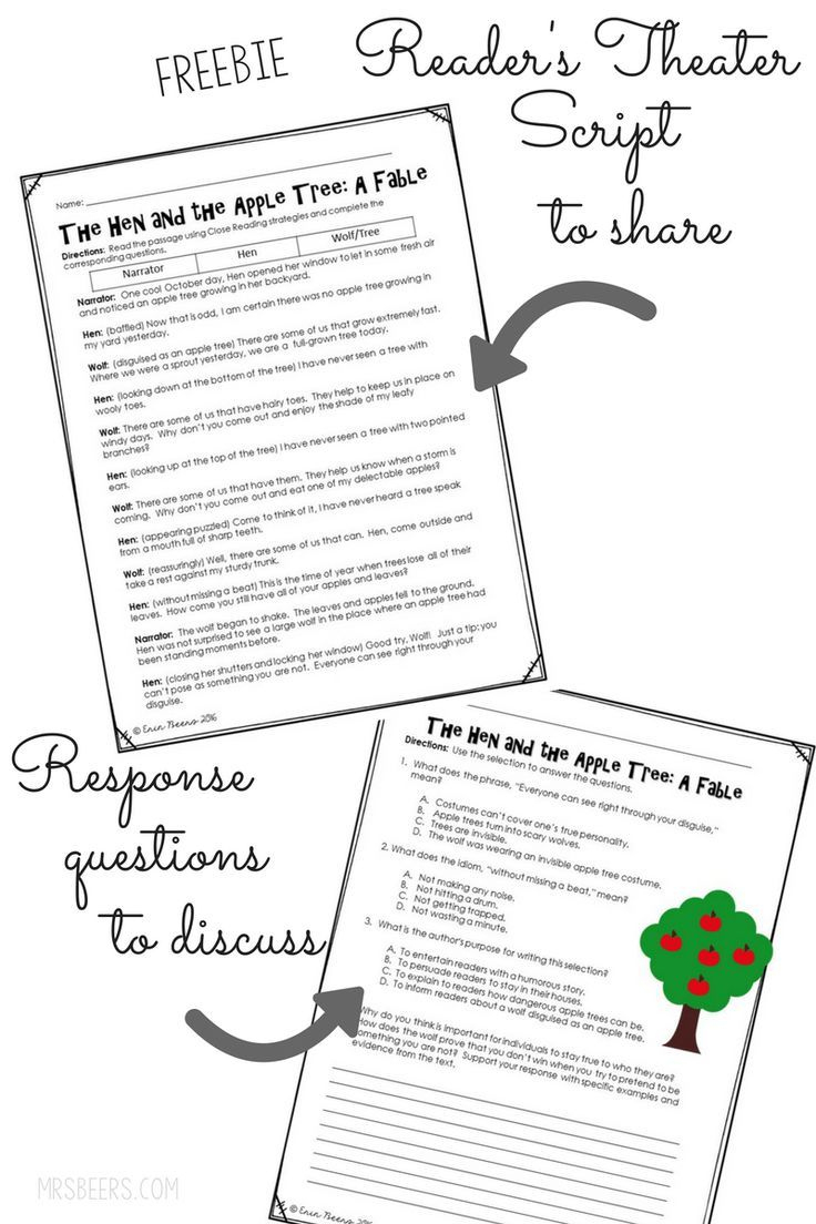 Fall Into Fables: A Mentor Text For Literature Circles | 5Th Grade - Free Printable Readers Theater Scripts 3Rd Grade