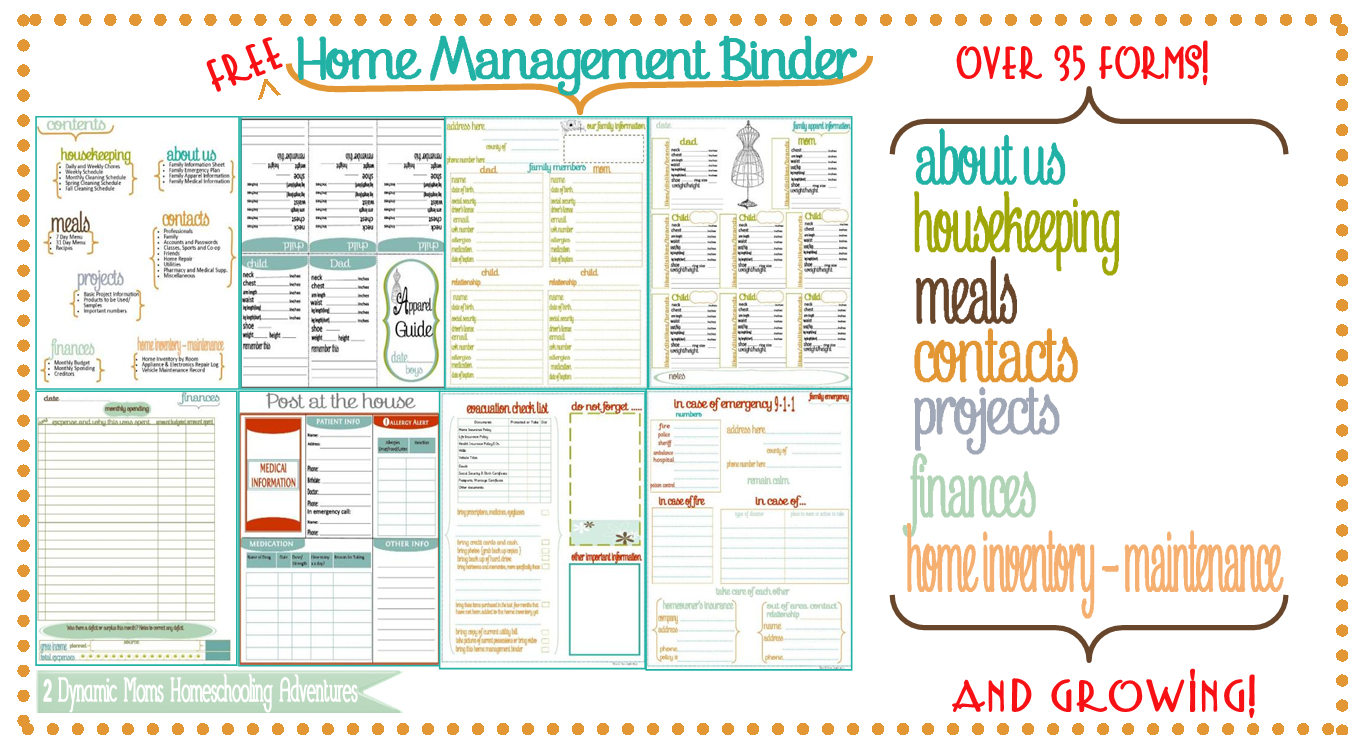 Family Home Binder - 6.9.kaartenstemp.nl • - Free Printable Home Organizer Notebook