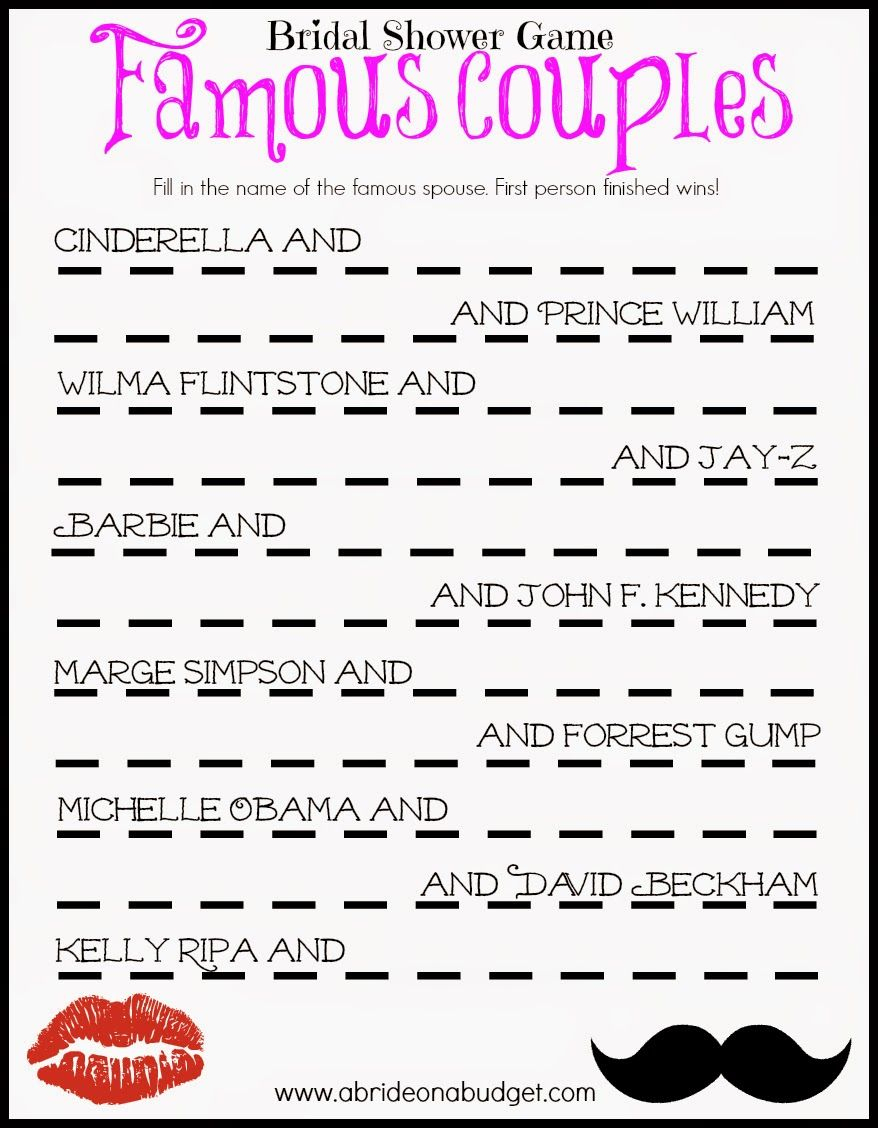 Famous Couples Bridal Shower Game (Free Printable) | Frugal And - Free Printable Bridal Shower Games