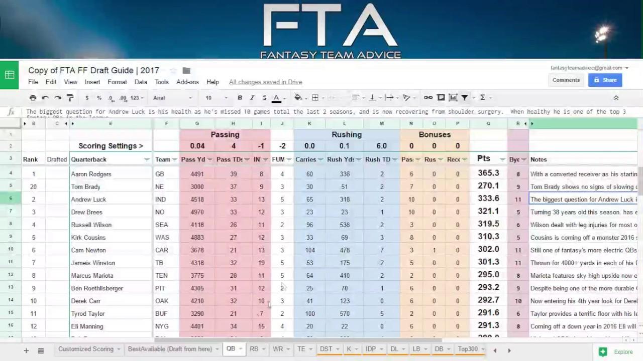 Fantasy Football Draft Guide / Cheatsheet (Using Value Based - Free Fantasy Cheat Sheet Printable