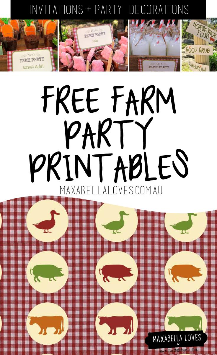 Farm Party Free Printables | Maxabella Loves - Free Printable Farm Birthday Invitations