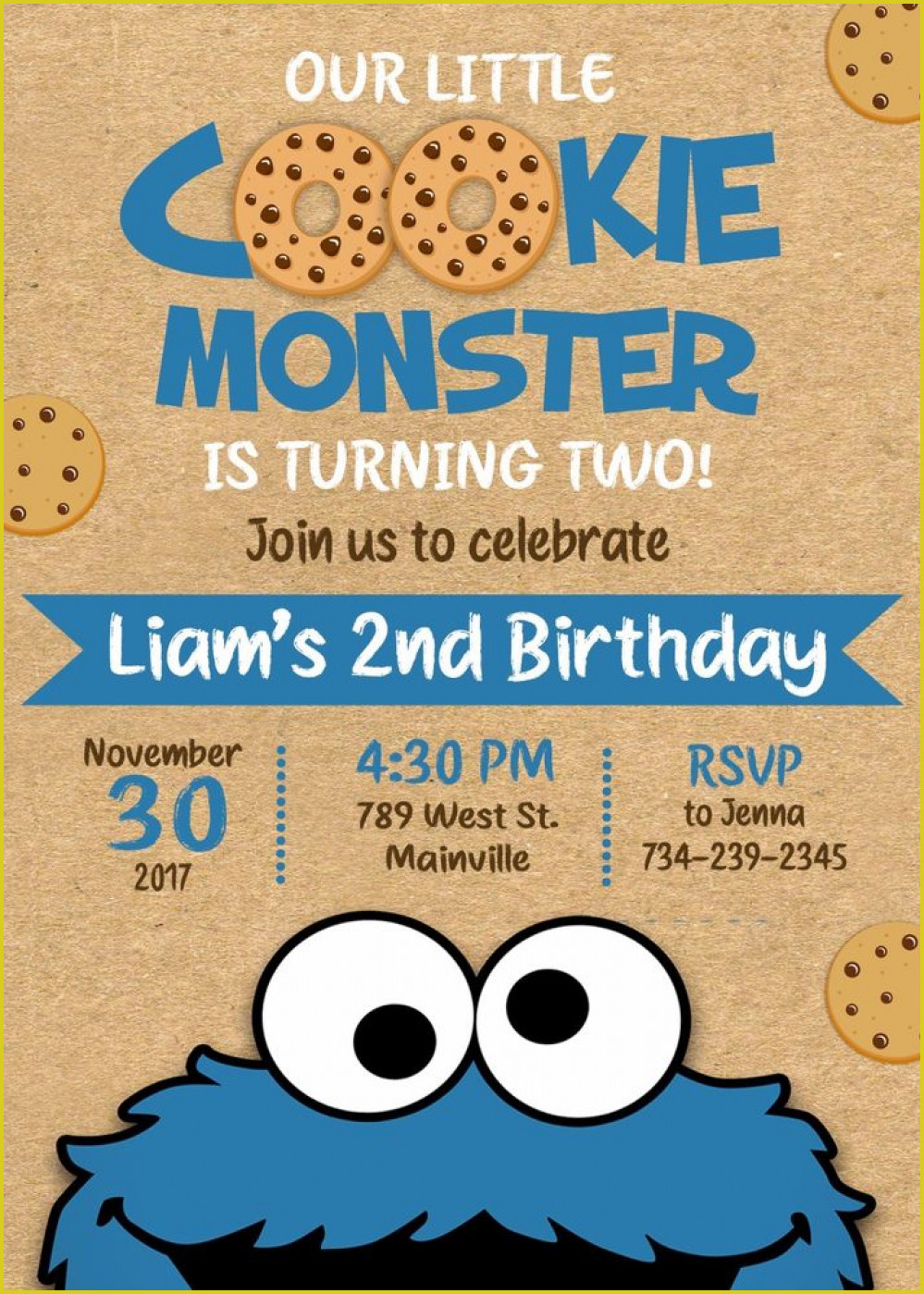 Fascinating Cookie Monster Birthday Invitations To Design Free - Free Printable Cookie Monster Birthday Invitations