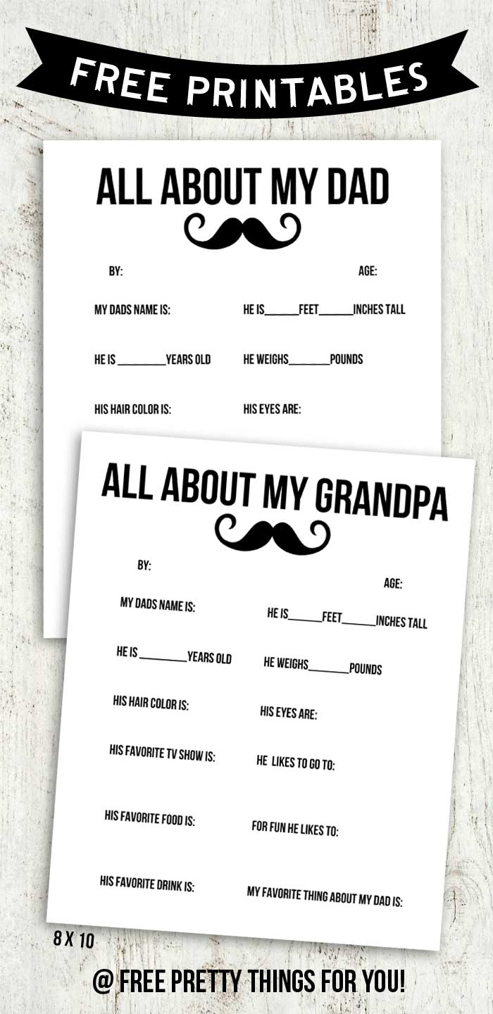 Father's Day Printable Round Up - Free Printable Dad Questionnaire