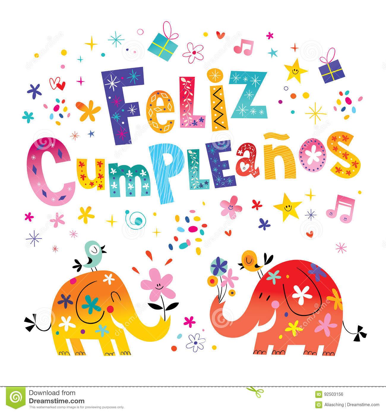 Feliz Cumpleanos Happy Birthday In Spanish Greeting Card Stock - Free Printable Happy Birthday Cards In Spanish