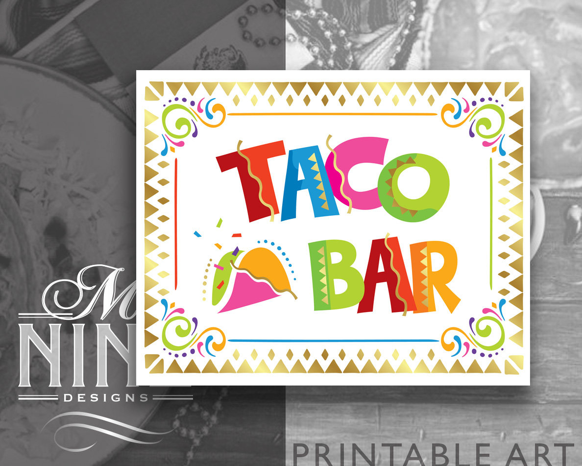 Fiesta Party Sign Printables Taco Bar Sign Downloads   Etsy - Free Printable Taco Bar Signs