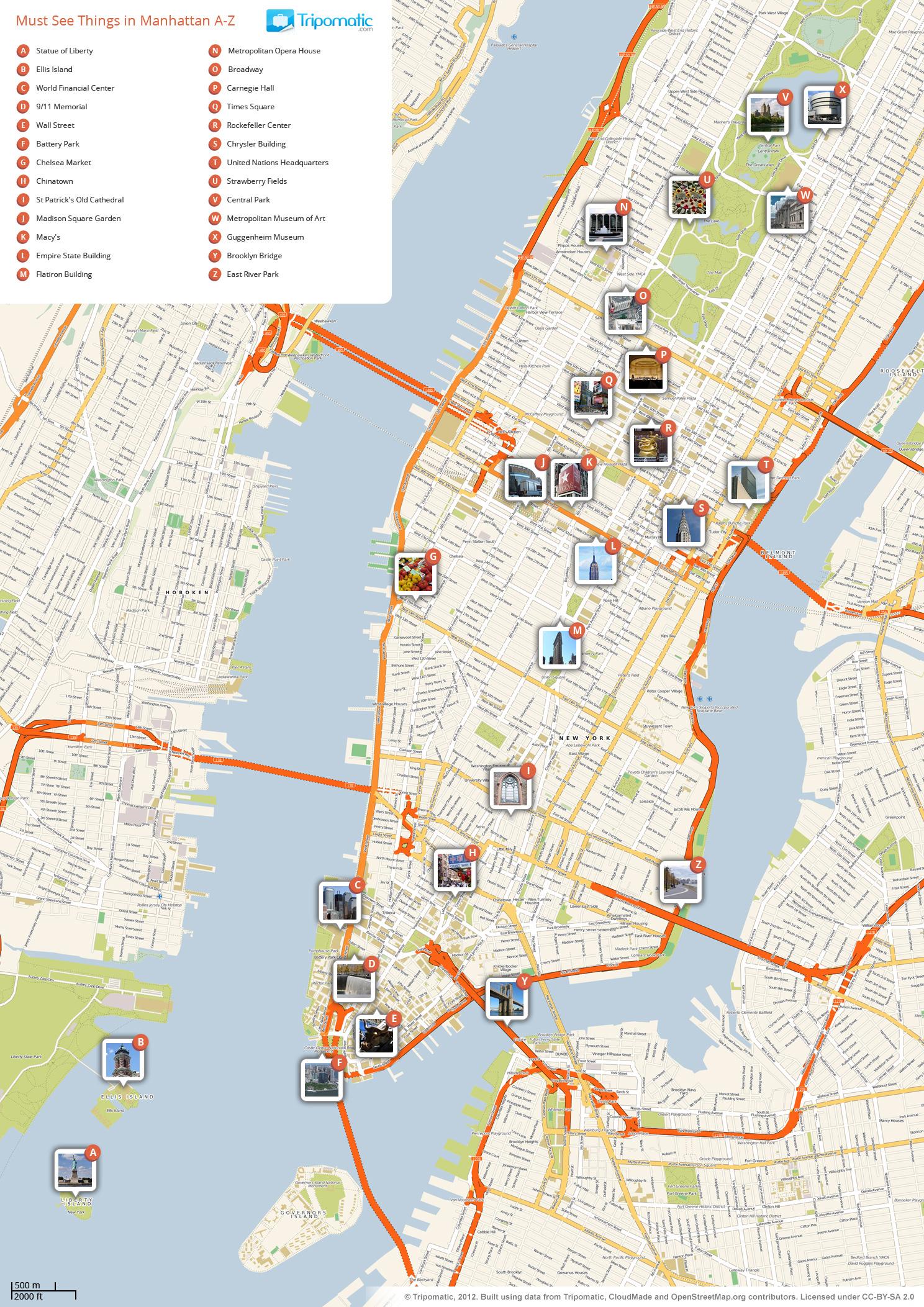 File:new York Manhattan Printable Tourist Attractions Map - Free Printable Map Of Manhattan