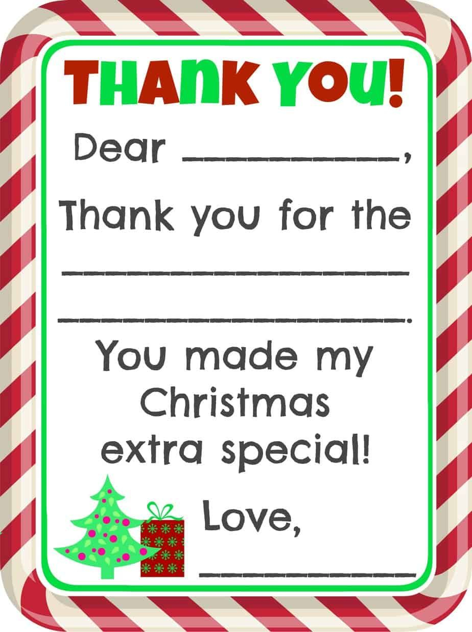 Fill-In-The-Blank Christmas Thank You Cards Free Printable - Free Christmas Thank You Notes Printable