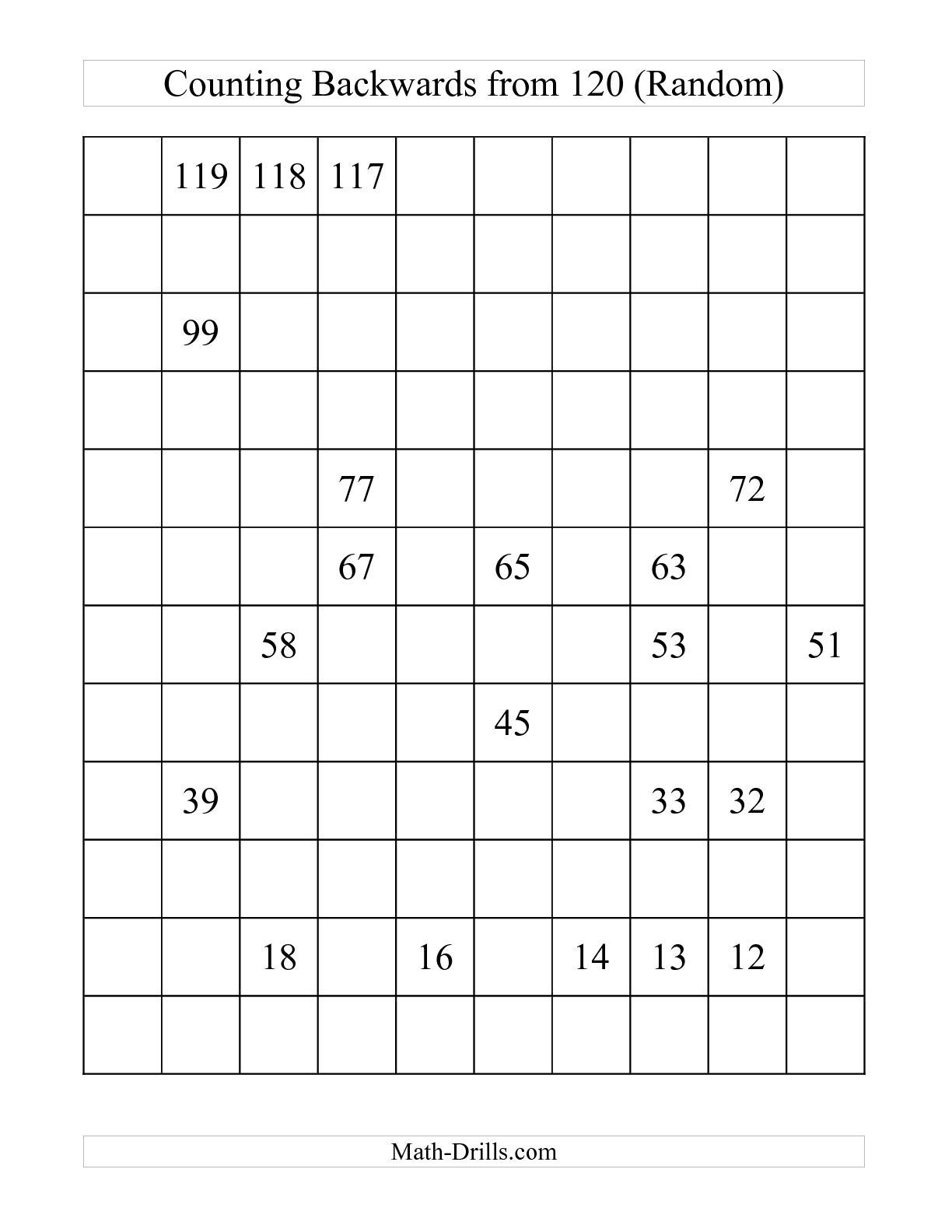 Fill In The Missing Number Chart Printable Hundreds Numbers Charts - Free Printable Blank 1 120 Chart