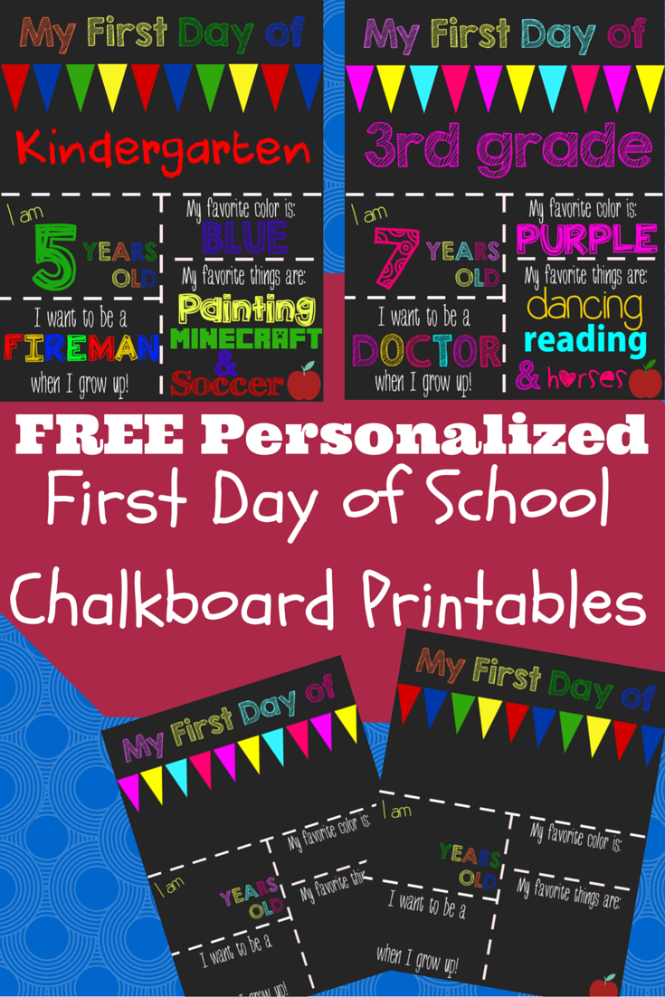 First Day Of School Printable Chalkboard Sign | Jill | Pinterest - Free Printable Back To School Signs