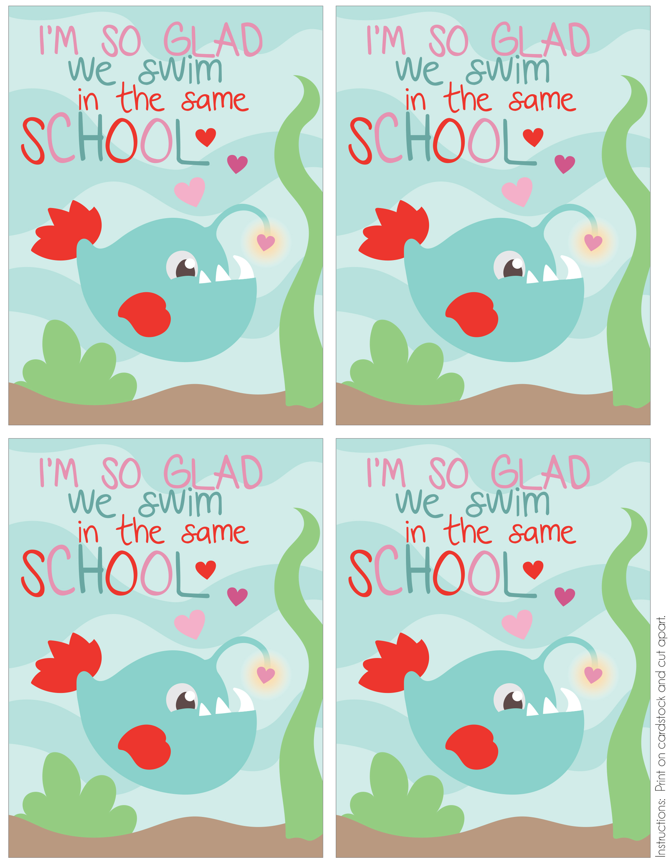 Fish School Printable Valentine Card - Mommy's Bundle - Free Printable School Valentines Cards