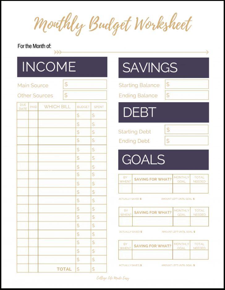 Free Printable Monthly Bills Worksheet