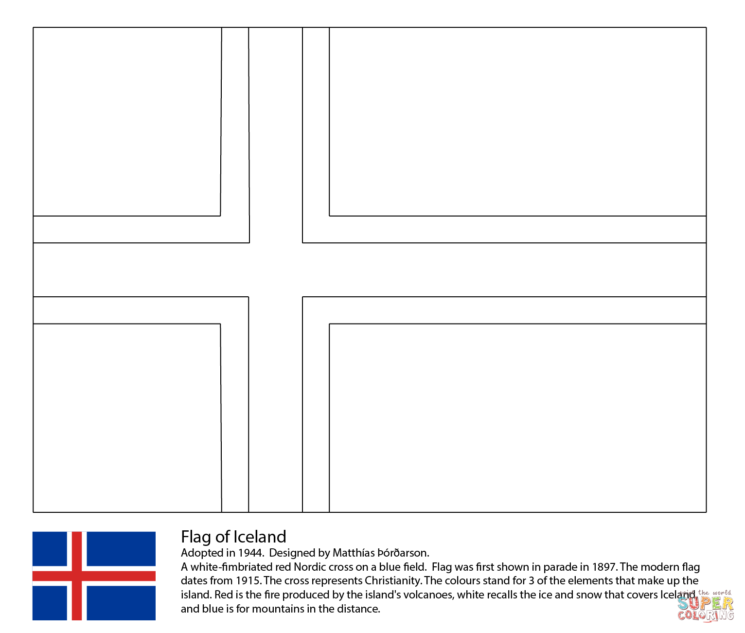 Flag Of Iceland Coloring Page | Free Printable Coloring Pages - Free Printable Pictures Of Flags Of The World