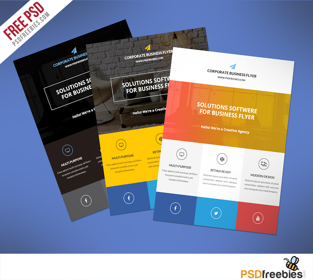 Flat Clean Corporate Business Flyer Free Psd   Psdfreebies - Business Flyer Templates Free Printable